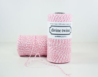 Divine Twine Raspberry  Bakers Twine 1 Full Spool  240 Yards Made in USA