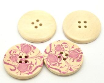 5 Floral (Design 16) Painted Wood Button Four Hole Natural Wood Colour 30mm - 5 Pack NPB34
