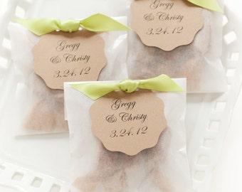 Best Seller Fleur de Sel Caramel Wedding Favors in Eco Friendly White Glassine Envelopes - 100 Guests