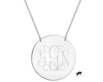 """Monogram necklace - 1"""" inch personalize silver monogram necklace sterling silver .925 silver"""
