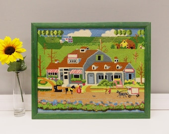 Vintage Needlepoint Country Scene--- Folk Art Style Hand Crafted Country Store