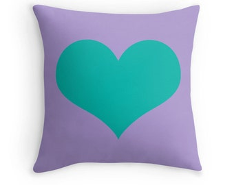 Teal Purple Heart Pillow, Teal Heart Pillow, Teal Decorative Pillow, Teal Pillow, Teal Decor, Teal Bedding, Teal Throw Pillow, Teal Room