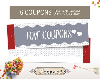 Valentine's Day GIFT for HIM, Printable DIY Love Coupon Book, Valentine Gift, Anniversary coupons for men, Instant Download, Love coupons