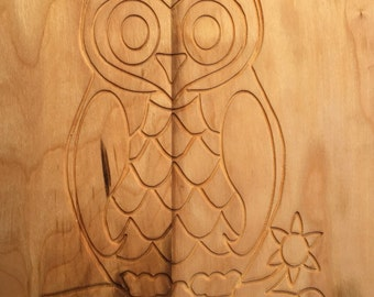 Engraved Owl Cutting Board