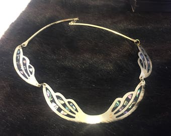 Gorgeous Vintage Alpaca Mexico Inlaid Abalone Silver Necklace