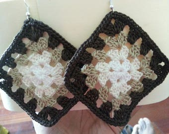 granny crochet mutlicolore earrings