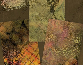 Digital Download Printable Collage Sheet - ATC Backgrounds Be Bold  2.5 x 3.5 size