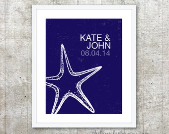Custom Gift for Newlyweds - Personalized Couples Print - Starfish Wedding Poster - Navy Blue Wall Art - Beach Wedding