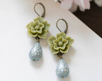 Sage Green Flower Dusky Blue Dangle Earrings Cherry Blossoms Powder Blue Drop Earrings Wedding Earrings Bridesmaid Gift Leverback Earrings