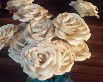 Mini Vintage Music Sheet Flowers, Sheet Music Bouquet, Paper Roses, Paper Flowers