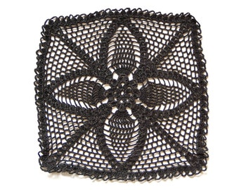 Square black Crochet doily, vintage hand dyed Doily, Table decor, crochet centerpiece, Cotton Lace Doily, recycled