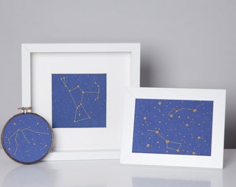 Any Four Constellation Embroidery Kits - zodiac, Orion, Dippers embroidery kit, DIY gift