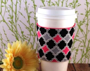 Fabric Coffee Cozy / Pink, Gray, Black Coffee Cozy / Coffee Cozy / Tea Cozy