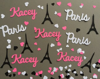 Personalized Eiffel Tower Paris Confetti in Hot Pink, Black, and White with Hearts