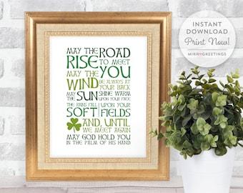Irish Blessing Digital Art - May the road rise to meet you - famous sayings - irish blessings - digital printable file - instant download
