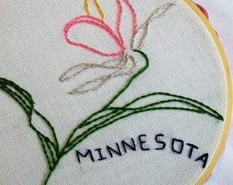 State Hoop Art, Minnesota Hoop Art, Embroidery Hoop Art, Minnesota with the state flower Lady Slipper