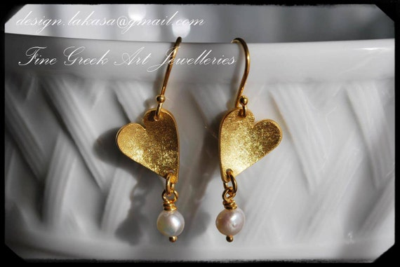Earrings Hearts with Freshwater Pearls Sterling Silver 925 Gold-plated Handmade Jewelry FREE Shipping Greek Art Valentine Love Woman Passion
