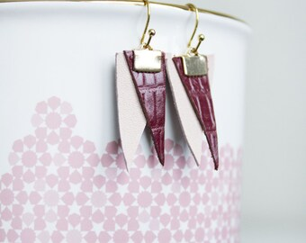 Handmade Long Dangle Leather Earrings, Geometric Jewelry, Pink Modern Earrings, Bohemian Chic Earrings, unique gift, gift for her
