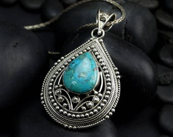 Vintage Turquoise Teardrop Pendant Necklace - Ornate Silver Framed Turquoise Necklace