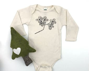 Dogwood flower Long sleeve Bodysuit - Organic Cotton Natural Onepiece - hand screen printed - made in America