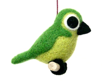 Needle felted green bird. Decoration to hang