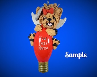 Tan / Black Yorkie Yorkshire Terrier Angel Dog Christmas Holidays Light Bulb Ornament Sallys Bits of Clay PERSONALIZED FREE with dog's name