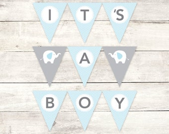 it's a boy banner baby shower printable DIY bunting banner elephant blue grey polka dots hanging banner digital triangle - INSTANT DOWNLOAD