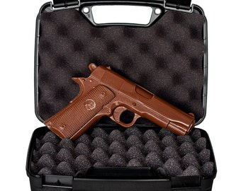 CHOCOLATE GUN - Full Size Hand-Crafted Solid Milk Chocolate Handgun with REAL Gun Case