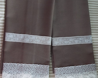 Pair of Hand Made Custom Sewn French Style Brown White Lace Hand Towels Tea Towels Kitchen Towels