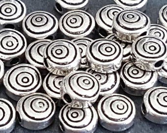 silver metal spiral antique 6mm 10 beads