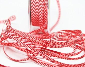 Striped Chevron Twill Ribbon -- 1/4 inch -- Red White
