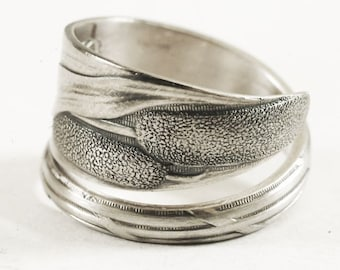 Slender Cattails Ring, Antique Sterling Silver Spoon Ring, Nature Inspired, Unique Promise, Nature Lover Gift, Adjustable Ring Size (6645)