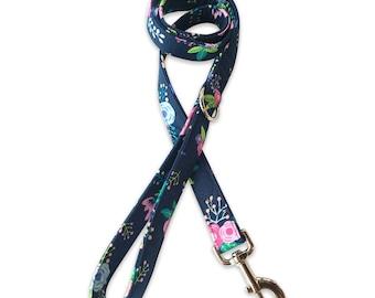 """Dog Leash, Dog Leash, Dog Leash, 4 foot, 5 foot leash, 6 foot, 12"""" traffic Floral Leash"""