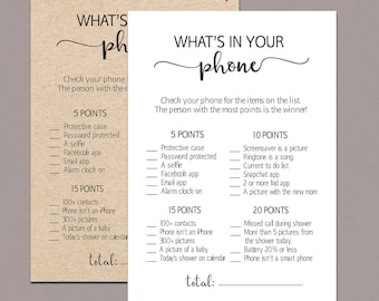 Whats in your phone baby shower game, whats in your phone game, whats in your cell phone game, Rustic Baby Shower Fun Activities kraft B11