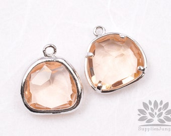 F119-01-S-CH // Silver Framed Champagne Glass Stone Pendant, 2Pcs
