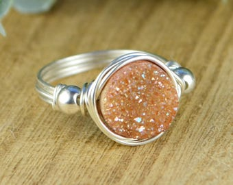 Light Brown Druzy and Any Two Birthstone Wrap Ring- Sterling Silver, Yellow or Rose Gold Filled Wire- Size 4 5 6 7 8 9 10 11 12 13 14