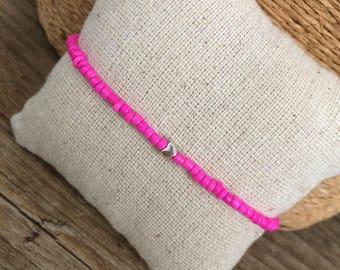 Tiny heart bracelet, dainty bracelet, simple bracelet, silver heart, hot pink bracelet, friendship bracelet, stacking bracelet, pink dainty