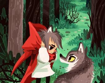 Little Red Werewolf 8x12 art print