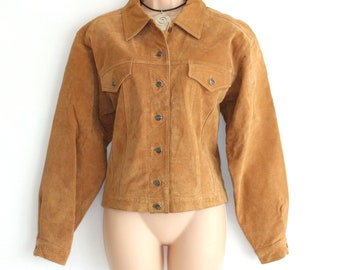 Vintage Brown / Tan 100% Real Leather KAFFE Western Bomber Women's Jacket Coat size L - XL / UK14 -UK16