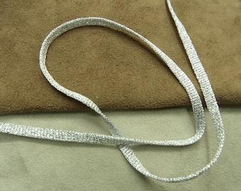 FANCY tubular Ribbon - 0.6 cm - silver