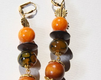 "3"" L Amber color jade, dragon agate stones, Afrocentric, wood, dangle, drop earrings"