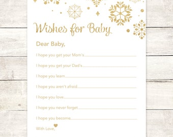 winter wishes for baby shower printable DIY white gold glitter snowflakes gender neutral well wishes for baby shower games INSTANT DOWNLOAD