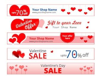 Valentine Sale Banner set  with custom