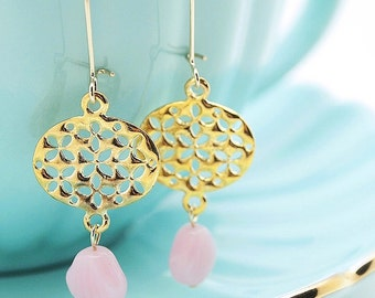 petal ovals earrings. cherry blossoms cut-outs with blush pink shell beads