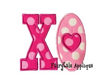 Digital Machine Embroidery Design -  XO Hugs and Kisses Applique