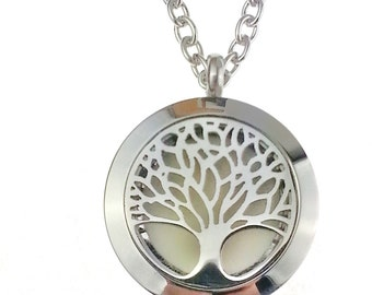 Essential Oil Diffuser Necklace , Stainless Steel Tree of Life Diffuser Necklace , Aromatherapy Necklace ,