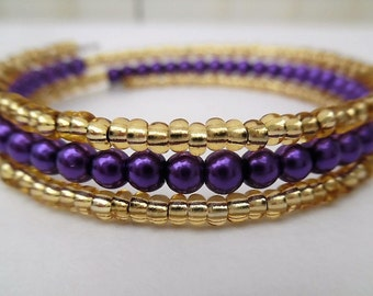Purple and Gold Bracelet, Bangle Style Bracelet, Summer Bracelet, Purple Wrap Bracelet, One Size Fits All, Beaded Bracelet Gift For Her