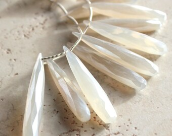 Ivory White Pearl Chalcedony Faceted Elongated Teardrop Briolettes 30 X 8mm - 12 Pieces