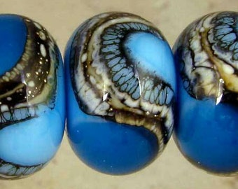 Teal and Powder Blue Lampwork Glass Bead Spacer Set of 6 with Organic Silvered Ivory Web Small 11x7mm Atlantis