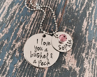 I love you a bushel and a peck Disc Necklace with Name Disc and Swarovski Crystal Birthstones